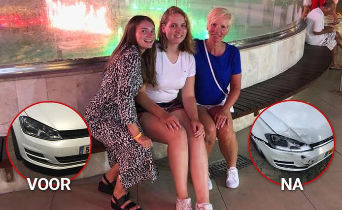 Zusjes Margriet en Annabel en moeder Trees uit Emmeloord tijdens hun vakantie in Turkije. Inzetje links: de Volkswagen Golf van Trees zoals die er uitzag bij overdracht aan valetparkingbedrijf Topvalet Service, rechts zoals die eruitzag bij terugkomst.