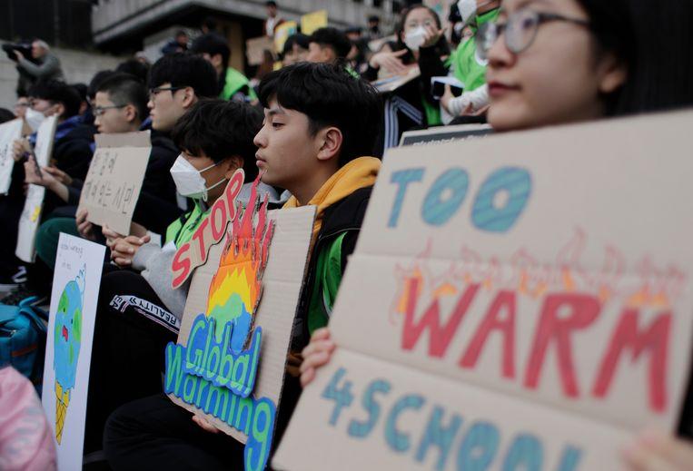 Een rally in Seoul, Zuid-Korea.