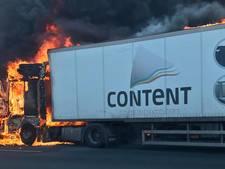 Veel hinder door vrachtwagenbrand op A8
