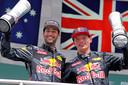 31 juli 2016: Red Bull op het podium van Hockenheim: Daniel Ricciardo (links) als nummer 2, Max Verstappen op 3.