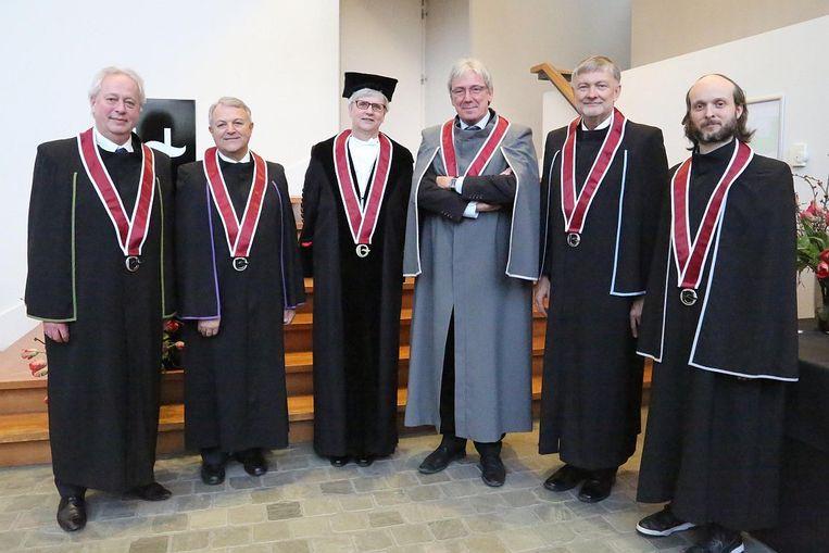 De eredoctors - An Vermunt, Michael Camilleri, Katharina Boele-Woelki en Olaf Drummer en Sidi Larbi Cherkaoui.