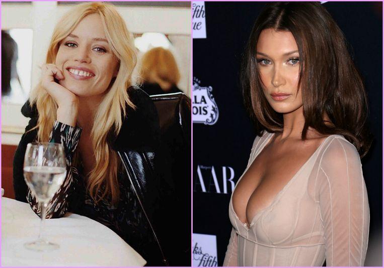 Modellen Georgia May Jagger en Bella Hadid met lange laagjes.
