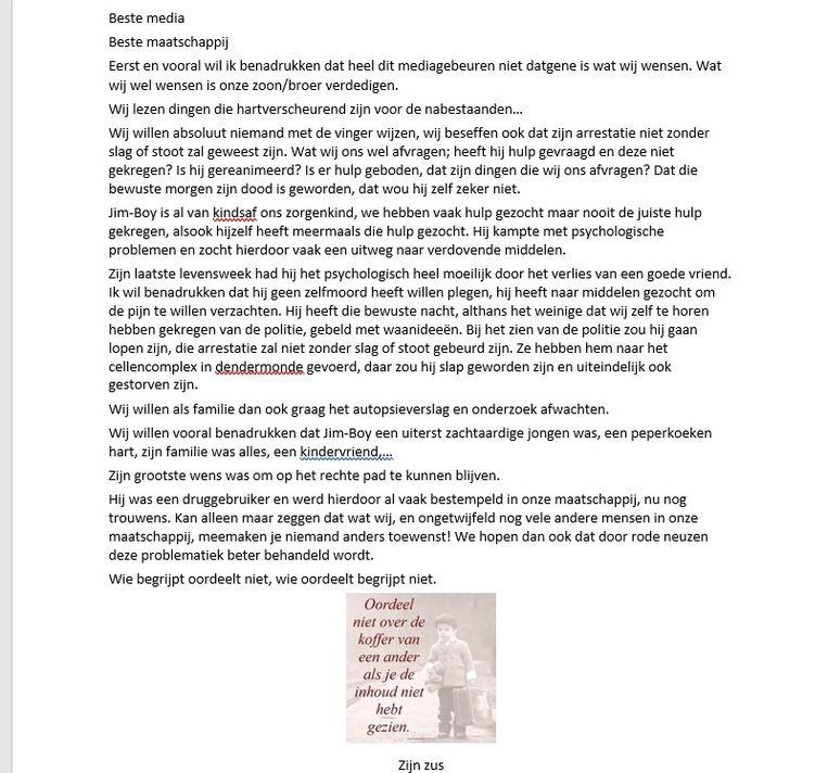 De zus schreef een open brief na de gebeurtenissen met haar broer Jim.