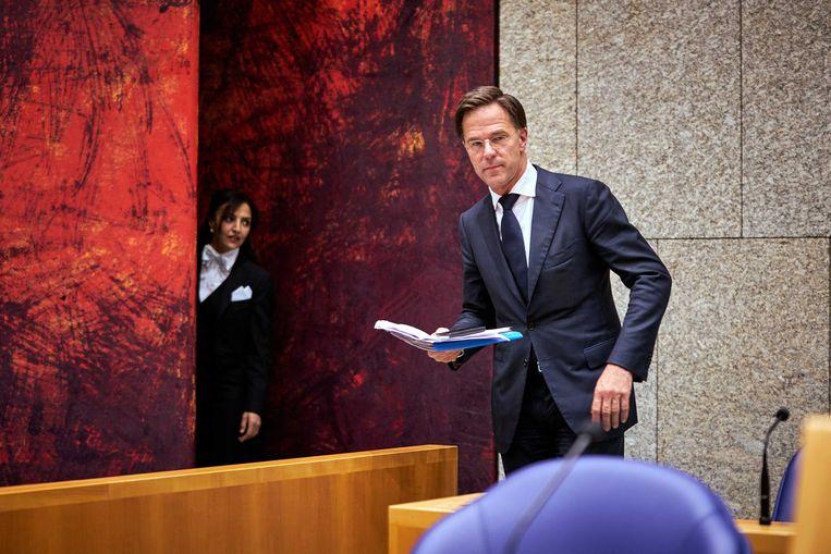 Premier Mark Rutte tijdens het debat in de Tweede Kamer over de uitkomst van de Europese Top inzake het herstelfonds Beeld ANP