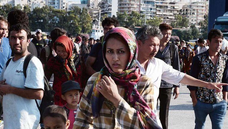 Afghaanse en Iraakse vluchtelingen op het Griekse eiland Lesbos.