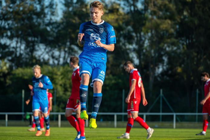 Teun Bijleveld maakte voor rust de 1-0 voor Heracles tegen FC Sion.