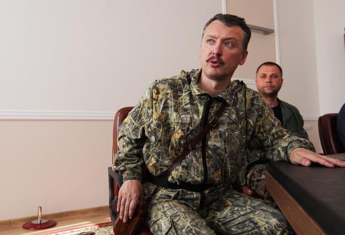 Igor Girkin (met achter hem Aleksandr Borodaj, zie verderop in dit artikel)