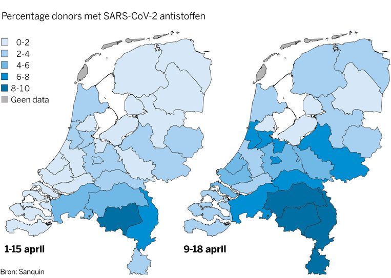 De antistoffen die aangetroffen werden in het bloed van mensen in Nederland.  Beeld Sanquin