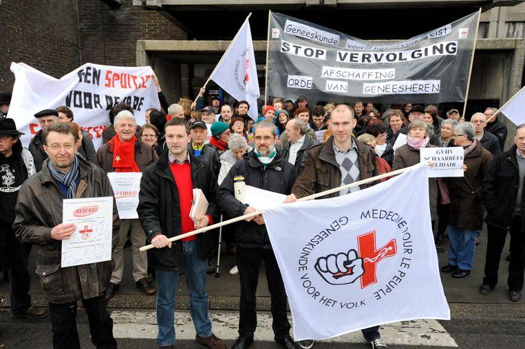 1 maart 2012: Protest voor het vredegerecht in Zelzate.