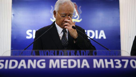 De Maleisische premier Najib Razak op de persconferentie over vlucht MH370 vorige week.