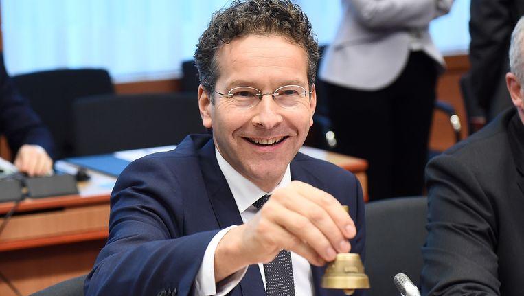 Voorzitter Jeroen Dijsselbloem tijdens de vergadering van de eurogroep vandaag in Brussel.