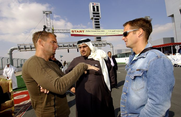 2005: Frank en Ronald de Boer in Qatar bij de Grand Prix.