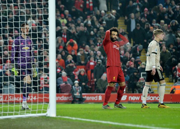 Mohamed Salah baalt na het missen van een enorme kans.
