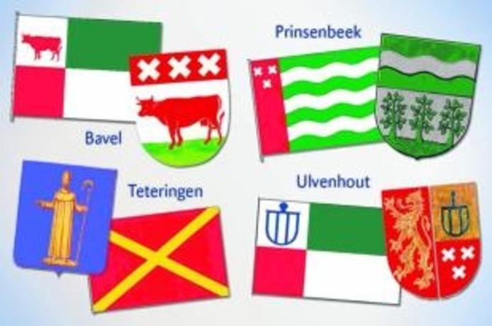 De nieuwe dorpswapens van Bavel, Prinsenbeek, Teteringen en Ulvenhout plus de vlaggen die er gaan wapperen. Het Teteringse dundoek draagt een heel nieuw ontwerp. foto Gemeente Breda