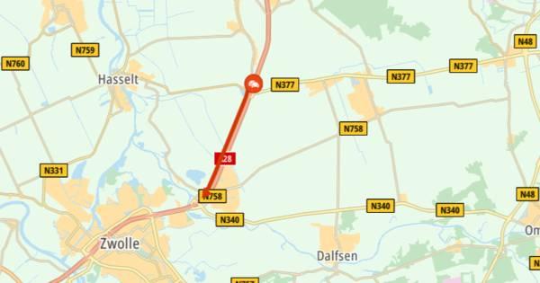 Ongeluk tussen Meppel en Zwolle zorgt voor file op A28.