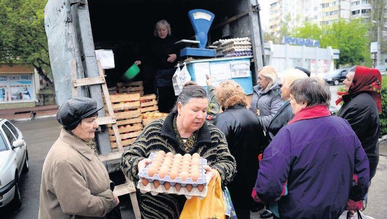 Handeltje in het centrum van Tiraspol. Beeld afp