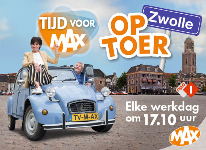 Tijd voor MAX wordt van 2 tot en met 6 september live uitgezonden vanaf het Rodetorenplein in Zwolle. Onder de gasten ook Zwollenaren als Tooske Ragas en Jonnie en Thérèse Boer.