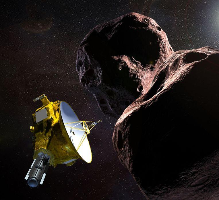 NASA-illustratie van de New Horizons bij de ruimterots Ultima Thule.
