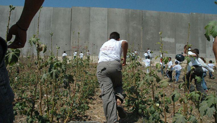 Palestijnse kinderen op de Westbank rennen naar de omheining. Beeld Nilfanion