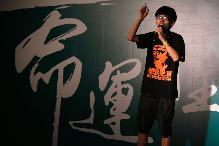 Joshua Wong, de 17-jarige leider van het scholierenprotest 'Scholarism'. Beeld reuters