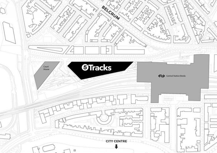 Locatie van 5Tracks, onderdeel van 'Via Breda'.