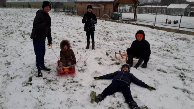 Kinderen halen slee van zolder, U13 voetbalt in de sneeuw en wandelaars trekken door idyllisch landschap
