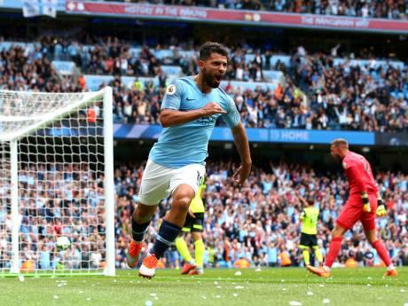 Hattrick voor Agüero bij overtuigende zege Manchester City