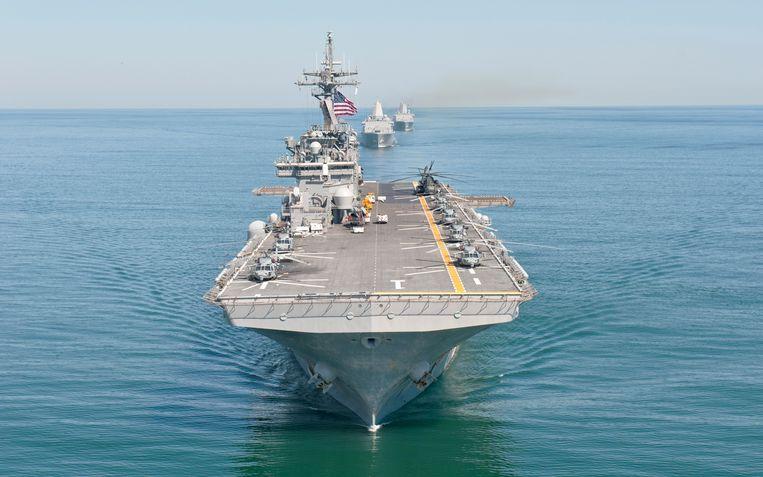 Het Amerikaanse amfibieschip USS Wasp tijdens een trainingsoefening in 2011 op de Atlantische Oceaan. Beeld U.S. Navy