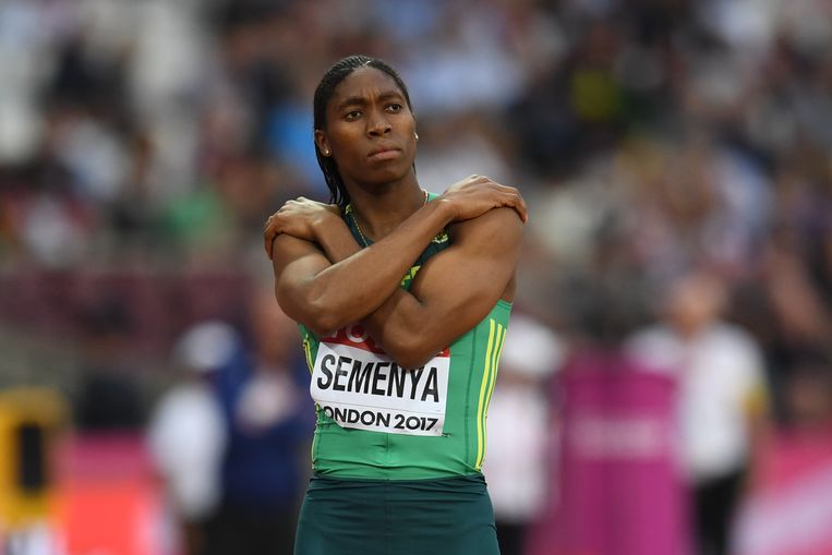 Semenya aan de start van de 800 meter tijdens het wereldkampioenschap atletiek in Londen in 2017. Beeld AFP