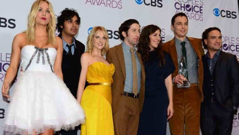 De cast van The Big Bang Theory tijdens de uitreiking van de People's Choice Awards in januari. Beeld afp