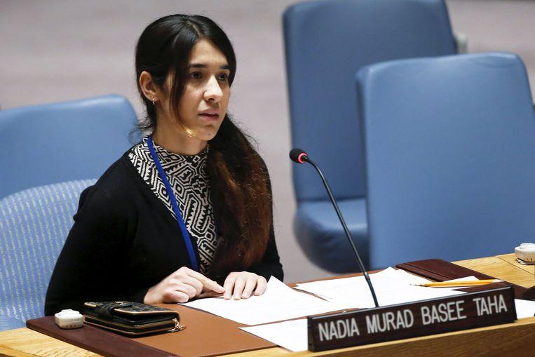 Nadia Murad tijdens de hoorzitting van de Veiligheidsraad van de Verenigde Naties.