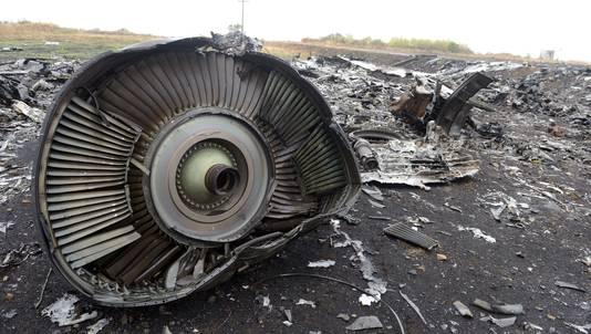 Een wrakstuk van vlucht MH17 in Oost-Oekraïne.
