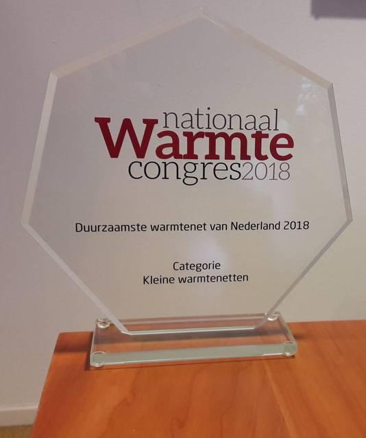De award die het Duurzaam Energiebedrijf Roosendaal in de wacht sleepte.