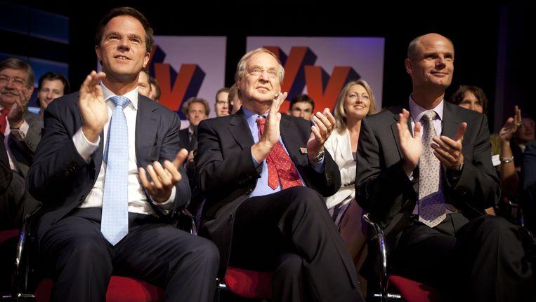 Premier Mark Rutte, VVD voorzitter Benk Korthals en VVD fractievoorzitter Stef Blok. Beeld ANP