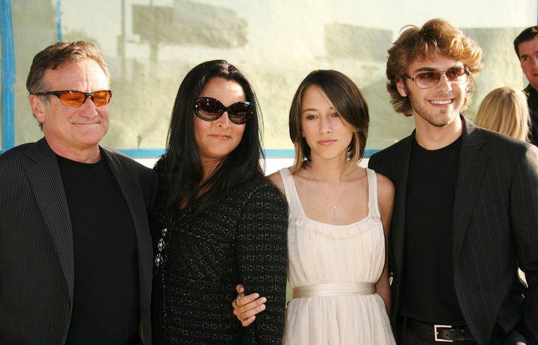 Robin Williams met zijn gezin.