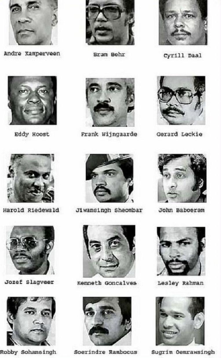 De 15 slachtoffers van de Decembermoorden. Beeld DSK