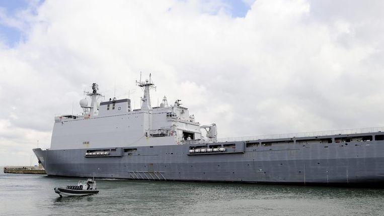 Het amfibische transportschip Hr.Ms. Rotterdam Beeld anp