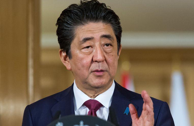De Japanse eerste minister Shinzo Abe tijdens een persconferentie in Downing Street.
