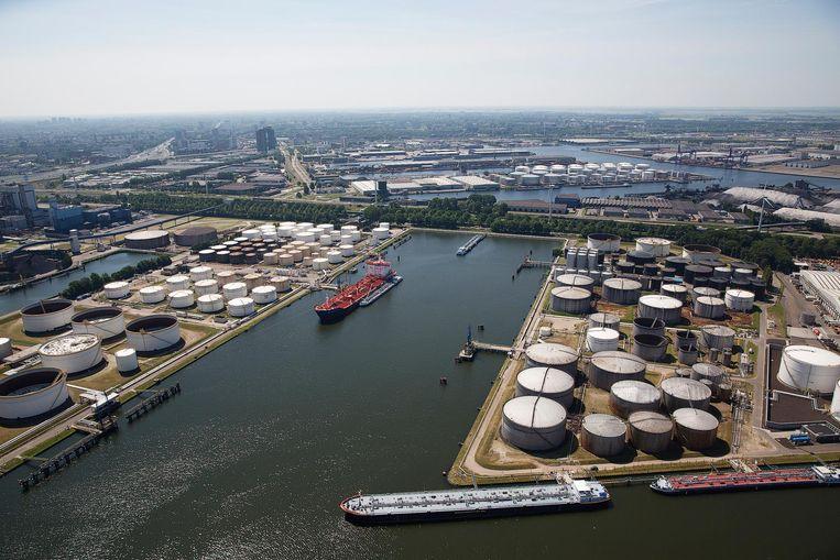 Luchtfoto van de Amsterdamse haven.  Beeld ANP