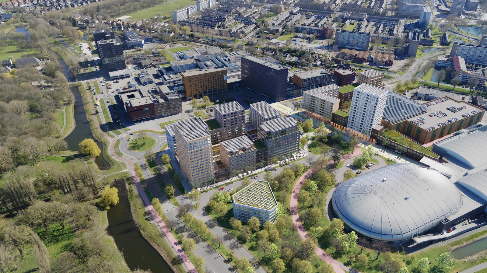 Tussen de Sportboulevard (rechtsonder) en het ziekenhuis (boven in beeld) komt behalve 720 woningen in allerlei prijsklassen en varianten ook veel groen.