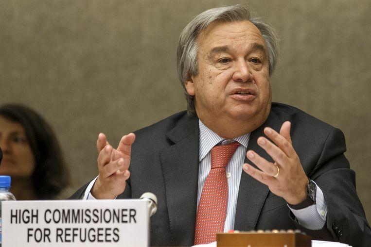 Unhcr-baas Antonio Guterres op de VN-conferentie in Genève. Beeld null