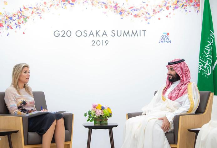 Máxima ontmoette Mohammed bin Salman tijdens de G20-top in Japan.