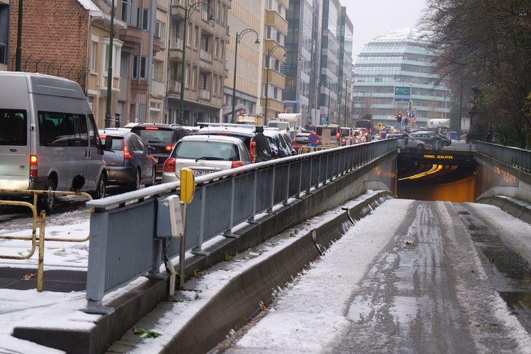 De tunnel aan het Brusselse Jubelpark bleef deze voormiddag dicht.