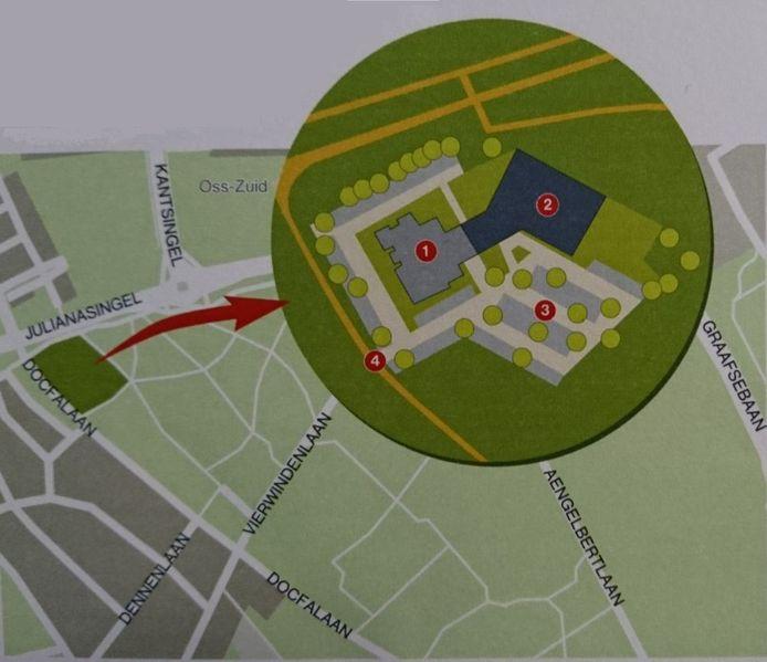 Een impressie van de plannen aan de Docfalaan. 1 staat voor het bestaande mortuarium, 2 voor het nieuwe crematorium en 3 voor de nieuwe parkeerplaats. 4 is de toerit.