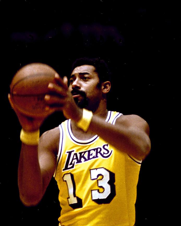 Wilt Chamberlain als speler van Los Angeles Lakers in 1973.