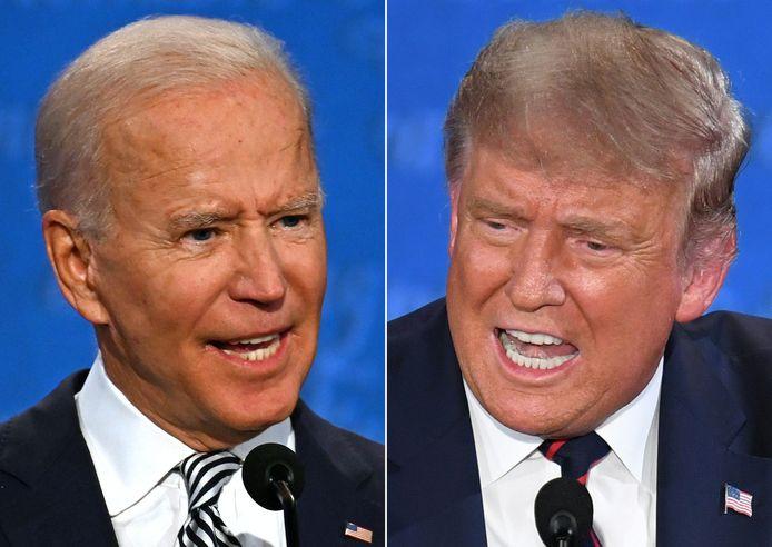 De Democratische presidentskandidaat Joe Biden (links) en huidig president Donald Trump, Republikein, tijdens het eerste debat. (29/09/2020)