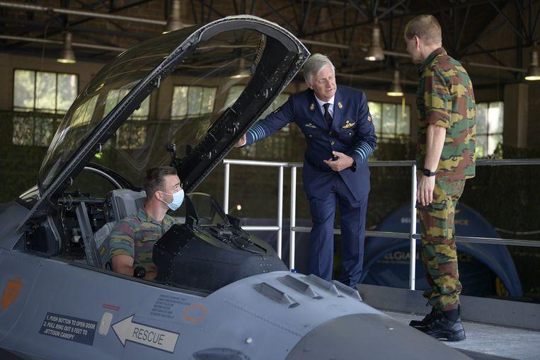 Koning Filip op bezoek bij de luchtmachtbasis Kleine-Brogel.