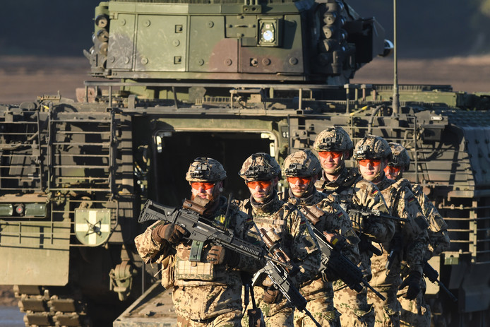 De Bundeswehr tijdens een perspresentatie afgelopen oktober.