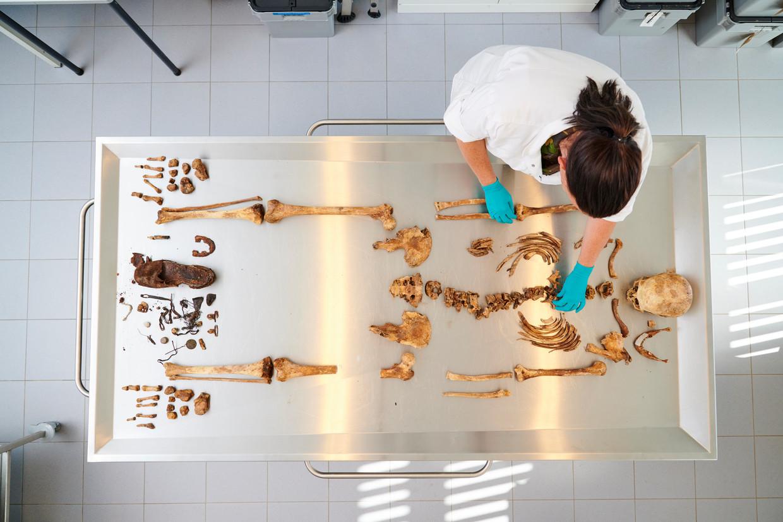 Op de Du Moulinkazerne in Soesterberg onderzoekt Els Schiltmans de overblijfselen van een naamloos slachtoffer uit de Tweede Wereldoorlog. Beeld Niels Stomps