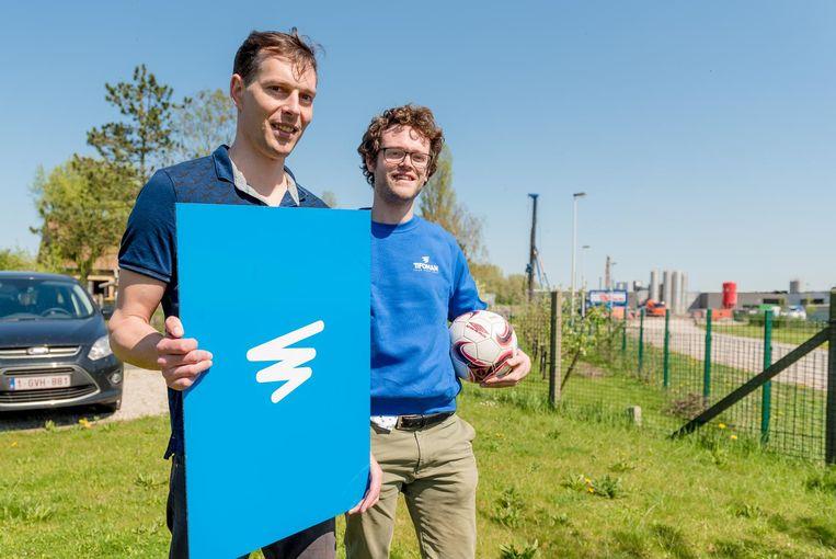 Jan Vellemans en Pieterjan Veys (rechts) van Tifogroup lanceren Tifogame.